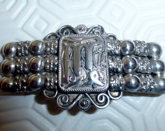 Antique Arabic Islamic Silver Brooch Pin Filigree North Africa Tunisia C1900