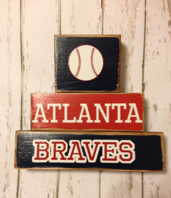 Atlanta Braves Baseball Block Wood Decor
