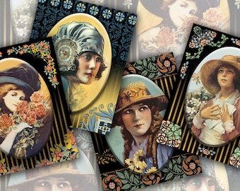 Instant Download, Vintage Victorian Glamour Girls, Original Stylized Art, Printable Digital Collage Art Sheet, 4x5, ACEO, Circle, JPEG Files