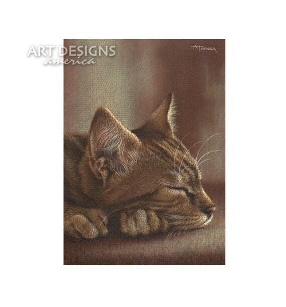 Napping Tabby Cat Aceo Cat Art Print Archival Print Sfa Etsy