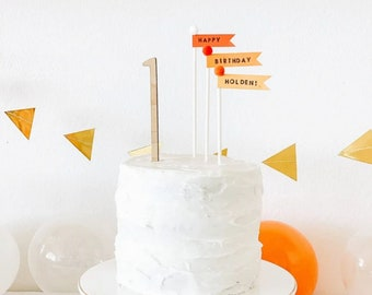 Orange Flag Cupcake and Cake Toppers - set of 3 - add name to personalize!