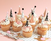 NEW Cupcake and Cake Toppers, Mini Party Hats, Rose Gold Black and White