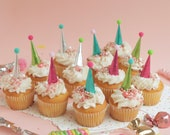 NEW Cupcake and Cake Toppers, Mini Party Hats, Metallic Unicorn Party Colors