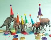 Mini Party Hats - METALLIC RAINBOW - for Animals and Dinosaurs, Circus Farm Dinosaur Wild One Party