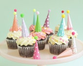 Cupcake and Cake Toppers, Mini Party Hats, Pastel Colors