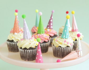 Cupcake and Cake Toppers, Mini Party Hats, Pastel / Pretty  Colors