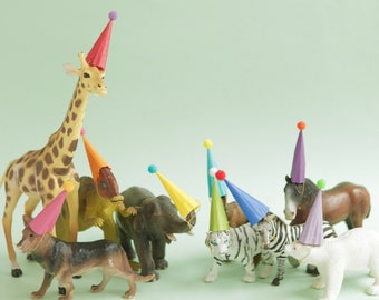 Mini Party Hats for Animals and Dinosaurs - RAINBOW COLORS - Circus Farm Dinosaur Party
