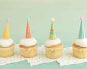 Cupcake and Cake Toppers, Mini Party Hats, Springtime Colors