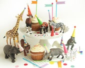 Mini Party Hats for Animals and Dinosaurs - BRIGHT COLORS - Miniature Hats for Dolls, Plastic Animals and Dinosaurs, Circus Wild One Party