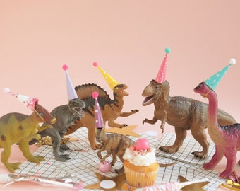 Mini Party Hats for Animals and Dinosaurs - pretty / pastel colots - Miniature Hats for Dolls, Plastic Animals, Wild One Party Animal Party