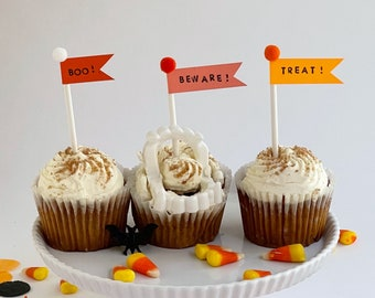 Halloween Boo! Beware! Treat! Flag Cupcake and Cake Toppers - set of 3