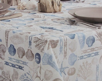 blush Linen Nautical Round Tablecloth Fable Fleet by nouveau/_bohemian Sea Boat Cotton Sateen Circle Tablecloth by Spoonflower
