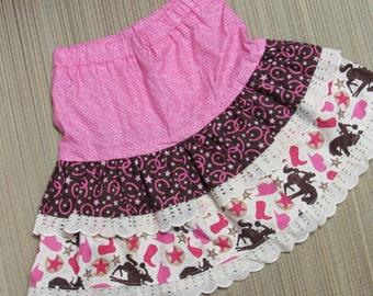 Cowgirl/Glitter Horses Twirly Skirt Set w/Pink Cowgirl Glitter Shirt-Size 5/6-Western/Cowgirl/Glitter Horses Set-Too Cute!