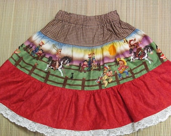 Cowgirl/Western Twirly Skirt Set w/ Shirt-Size 5/6-Cowgirl Scene/Brown/Red-Too Cute!