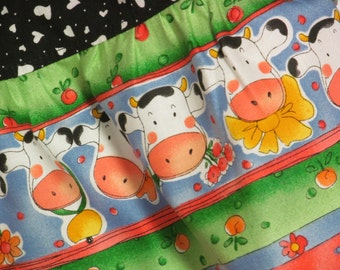 Cows and Flowers Twirly Skirt Set w/ Shirt-Size 5/6-Cute Cows & Hearts-Too Cute!