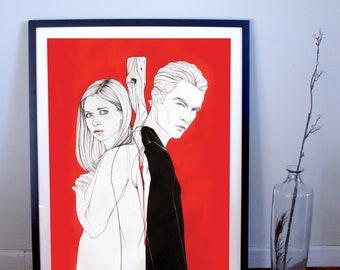 Buffy the Vampire Slayer: Buffy & Spike Art Print, Buffy Poster, Spike Poster, Spuffy, Spuffy Poster, Buffy Print, Spike Print, Spike Quote