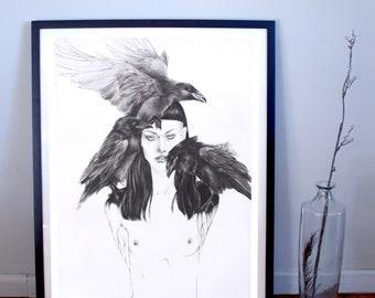 Woman and Raven Familiar Fine Art Print, Raven Poster, Dark Art Poster, Dark Art print, Figurative Art