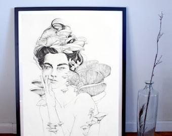 Fungus Woman (Symbiotic) Fine Art Print, Figurative Print, Figurative Poster, Fungus Poster, Dark Art