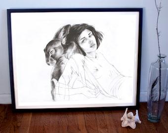 Woman and Rabbit Familiar (Watership Down) Fine Art Print, Figurative Print, Figurative Poster, Watership Down Poster, Dark Art