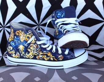 6afbe191a90 Doctor Who Van Gogh's Exploding Tardis Custom Chuck Taylor Shoes