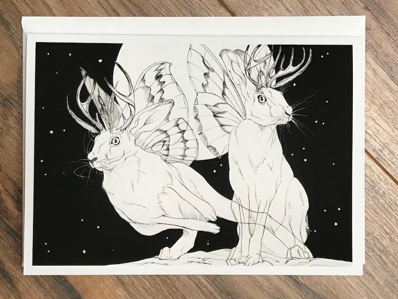 Jackalope Gicl\u00e9e Fine Art Print Greeting Card Cryptid Art Print Folklore Creature Greeting Card Folklore Art Print