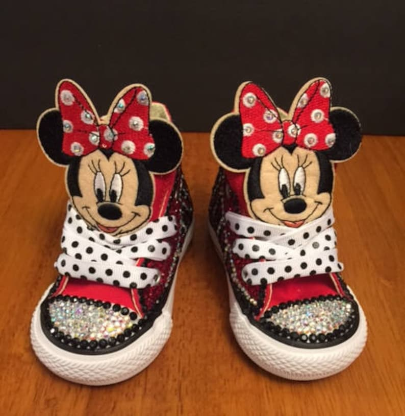 338afc875dcb Minnie Mouse Converse   Jeweled Converse   Little Girl