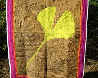 Ginko Spider Art Quilt Blanket Wall Hanging Art Quilt Fiber Art Textile Ginko leaf