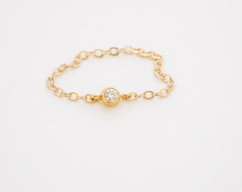 delicate ring // delicate 14k gold filled chain and tiny cz diamond, tiny gold ring, thin gold ring, simple gold cz ring