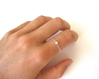 delicate ring, thin sterling silver rings, chain ring, tiny silver ring, tiny cz diamond ring