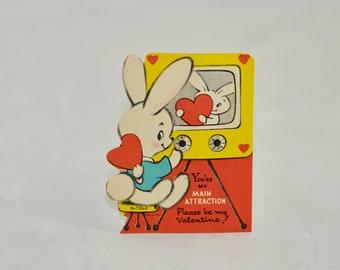 Googly eye art deco child with rabbit 7 high figure