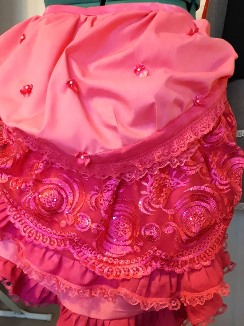 Tie On Ruffle Bustle Plus Size Cosplay Steampunk Victorian Edwardian Costume Bright Pink Fuschia and Sequin