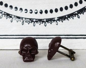 Brown Skull Cufflinks many colors Men's Cuff Links brown wedding favors groomsmens gift anniversary