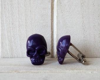 Skull Cufflinks in purple Victorian Cufflinks Anniversary Gift Grooms