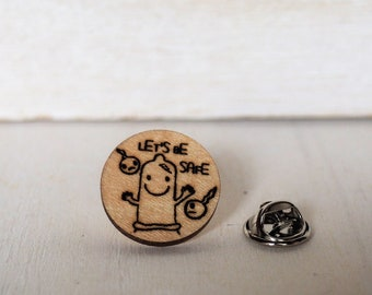 Condom Pin Mature Prophylactic Brooch Let's be safe Lapel Pin Wooden Art Laser Cut Spermatozoon Tie Tack
