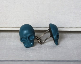 Blue Teal Cufflinks Blue Teal Skull Cuff Links Grooms Wedding Anniversary Gift