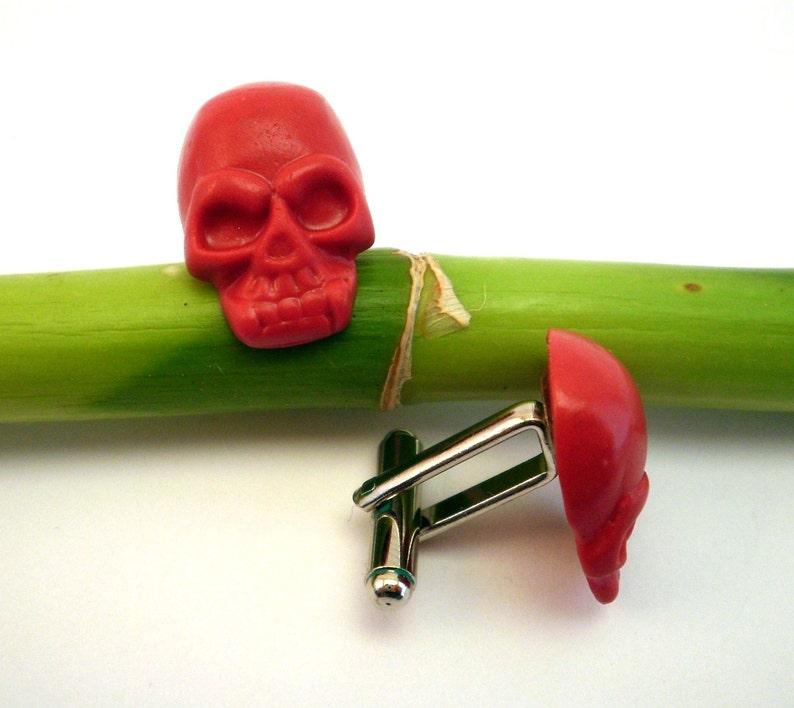 Skull Cufflinks in red Grooms Cufflinks Anniversary Gift Rocker Accessories