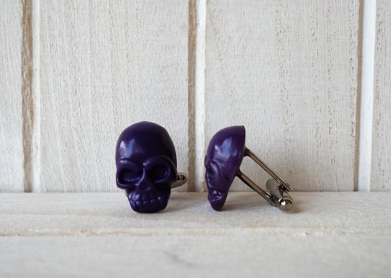 Skull Cufflinks in purple Victorian Cufflinks Anniversary Gift image 0