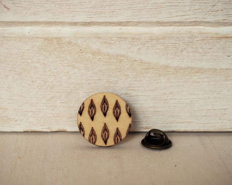 Vagina Pin different designs Mature Vagina Brooch Wooden Art image 0