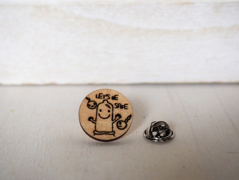 Condom Pin Mature Prophylactic Brooch Let's be safe Lapel image 0