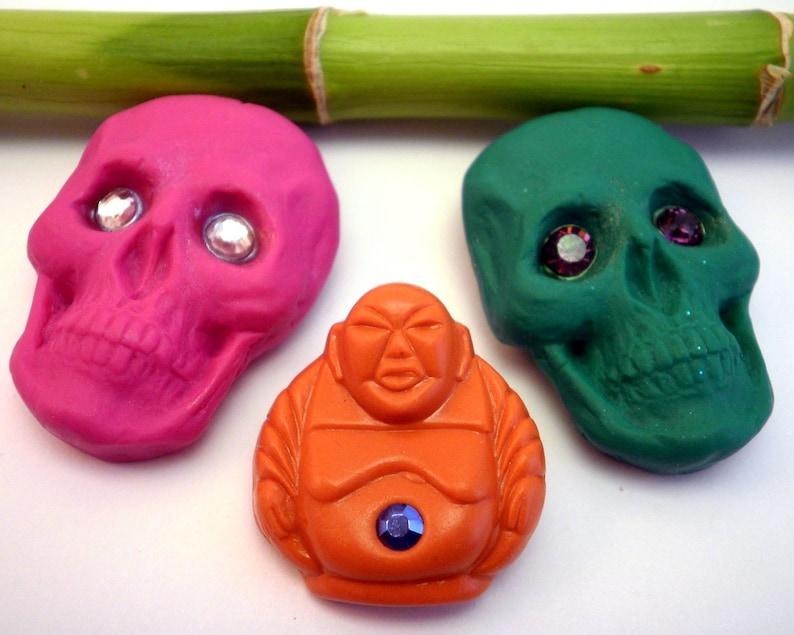 Buddha Brooch Skull Brooch Handmade Choose your brooch One image 0