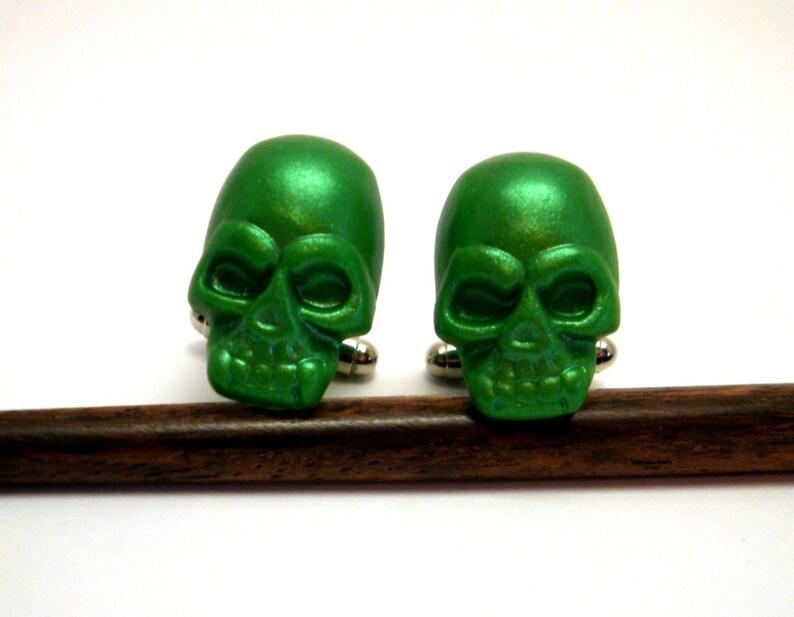 Skull Cufflinks Green Pearlescent Handmade wedding favors image 0