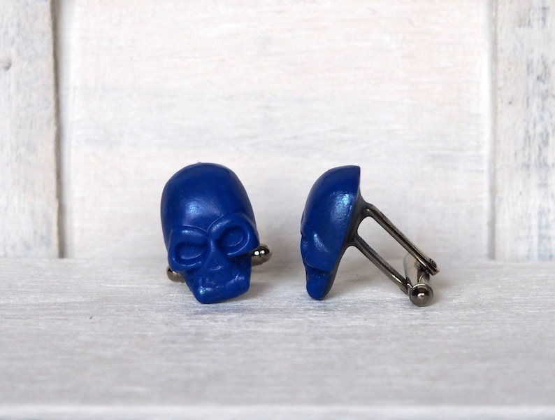 Blue Skull Cufflinks Grooms Blue Cufflinks Anniversary Gift image 0