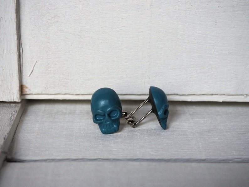 Blue Teal Cufflinks Blue Teal Skull Cuff Links Grooms Wedding image 0