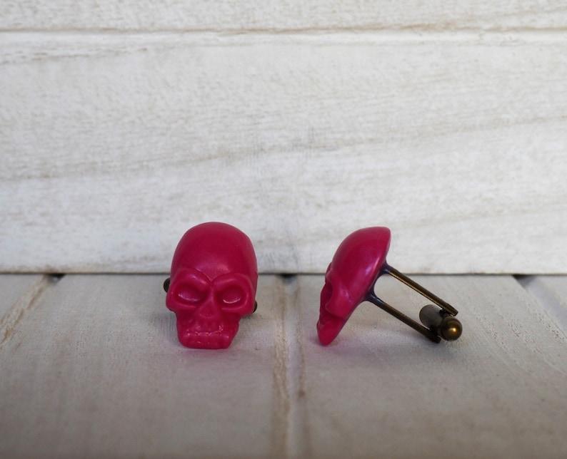 Fuchsia Skull Cufflinks Fuxia Cufflinks Fuchsia wedding image 0