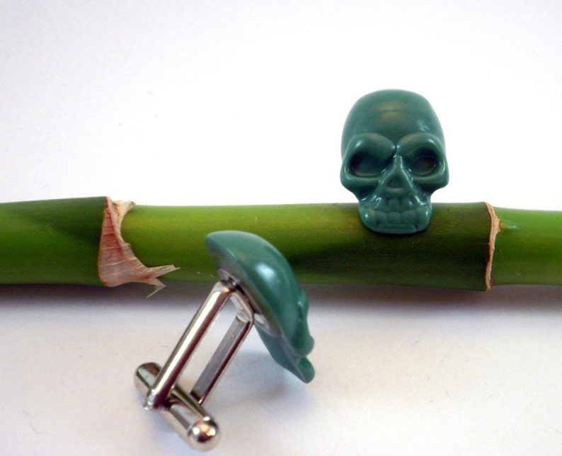 Green Skull Cuff Links Skulls Jewelry alternative wedding image 0