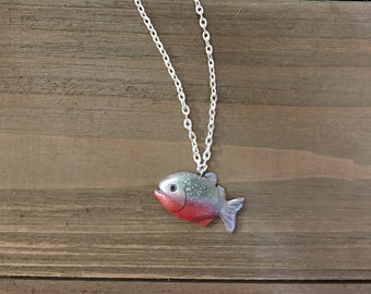 "Piranha's Gonna Eat You! - Red Bellied Piranha Necklace - Silver 18"" Chain - Made to Order"