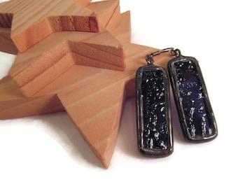 Deep Purple Earrings Stained Glass Earrings Handmade Jewelry Soldered Jewelry Purple Dangle Drop Earring Purple Boho Long Rectangle Earrings