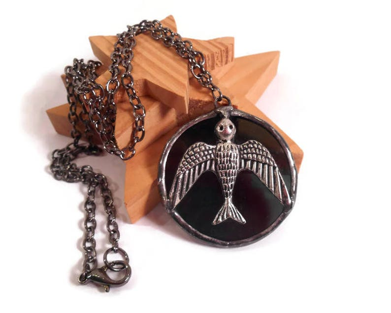 Stained Glass Jewelry Black Glass Necklace Glass Bird Pendant image 0