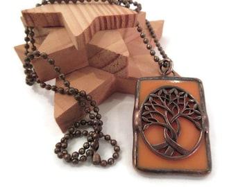 Copper Tree Pendant Stained Glass Pendant Orange Copper Necklace Handmade Jewelry Peach Glass Necklace Celtic Tree Jewelry Soldered Pendant