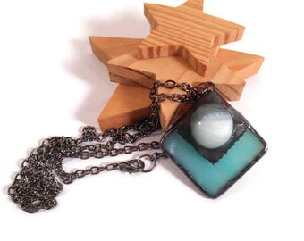 Green Glass Necklace Stained Glass Jewelry Soldered Necklace Handmade Pendant Jewelry Unique Glass and Metal Pendant Necklace Square Jewelry